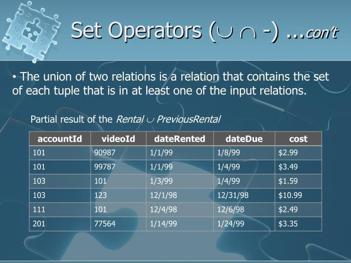 Set Operators (