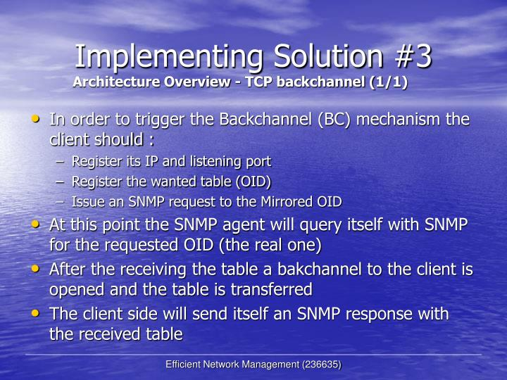 Implementing Solution #3
