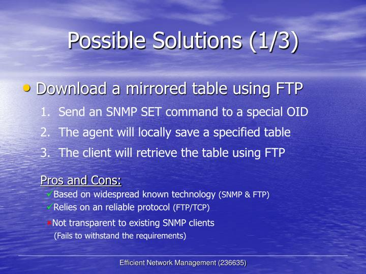 Possible Solutions (1/3)