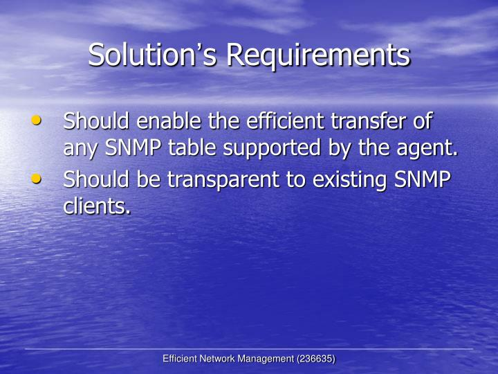 Solution s requirements