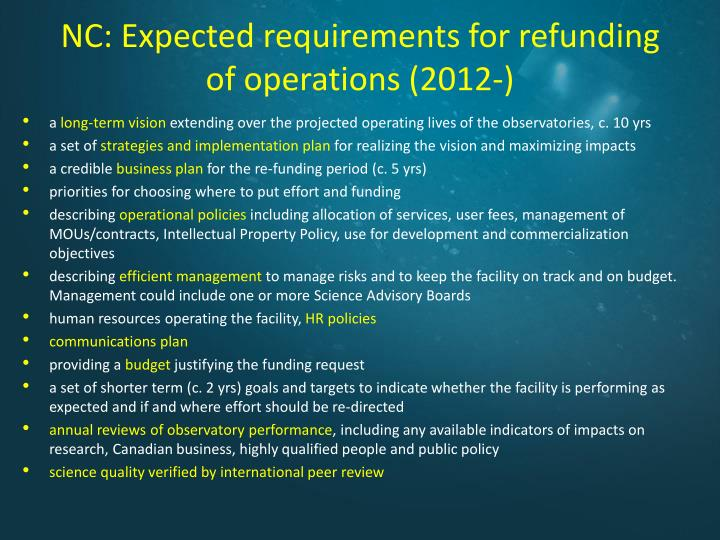 NC: Expected requirements for refunding of operations (2012-)