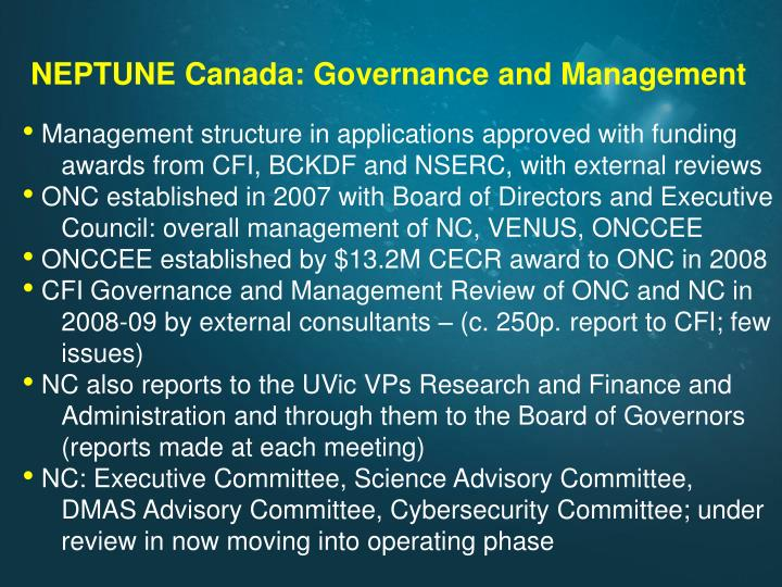 NEPTUNE Canada: Governance and Management