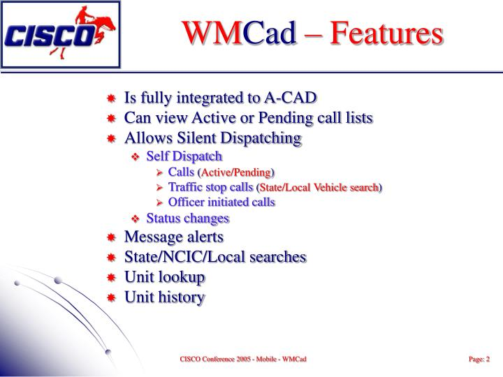 Wm cad features