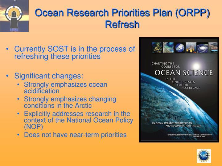 Ocean Research Priorities Plan (ORPP) Refresh