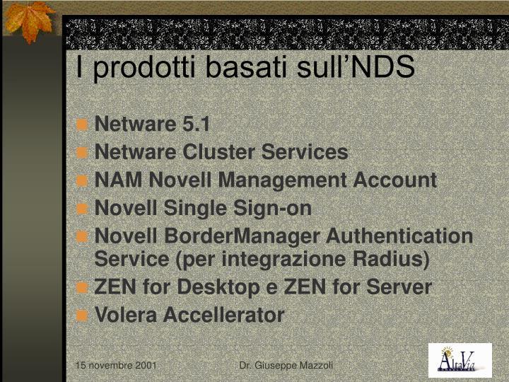 I prodotti basati sull'NDS
