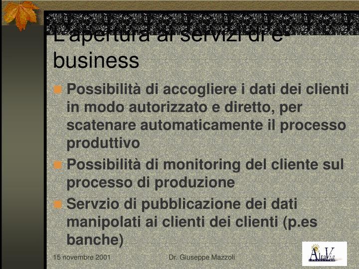L'apertura ai servizi di e-business