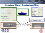 previous work incubation filter