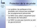 protection de la vie priv e