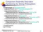 component assembly descriptor partitioning for dining philosophers1
