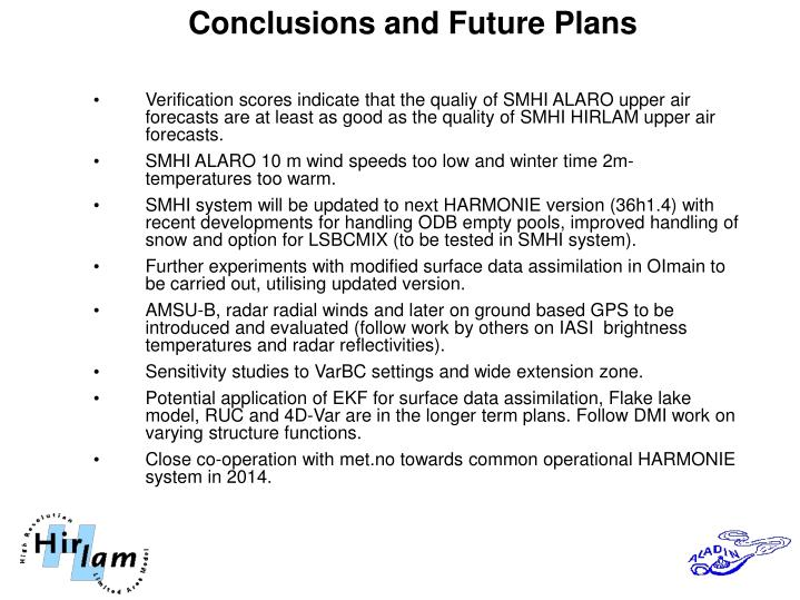 Conclusions and Future Plans
