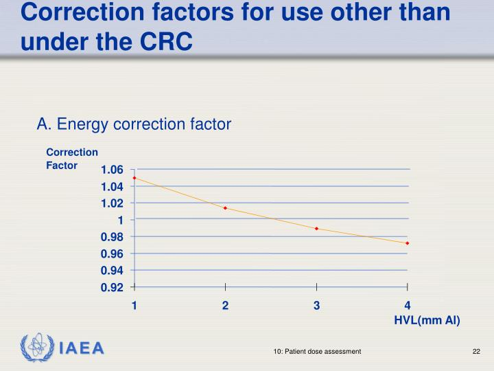Correction factors for use other than under the CRC