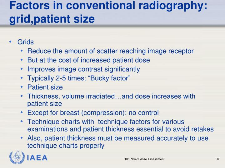 Factors in conventional radiography: grid,patient size