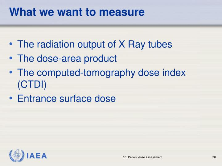 What we want to measure