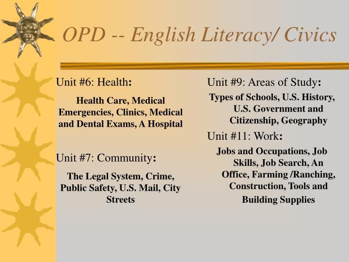 OPD -- English Literacy/ Civics