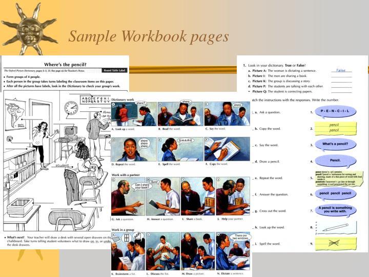 Sample Workbook pages