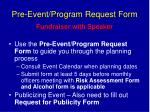 pre event program request form