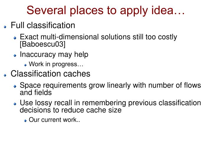 Several places to apply idea…