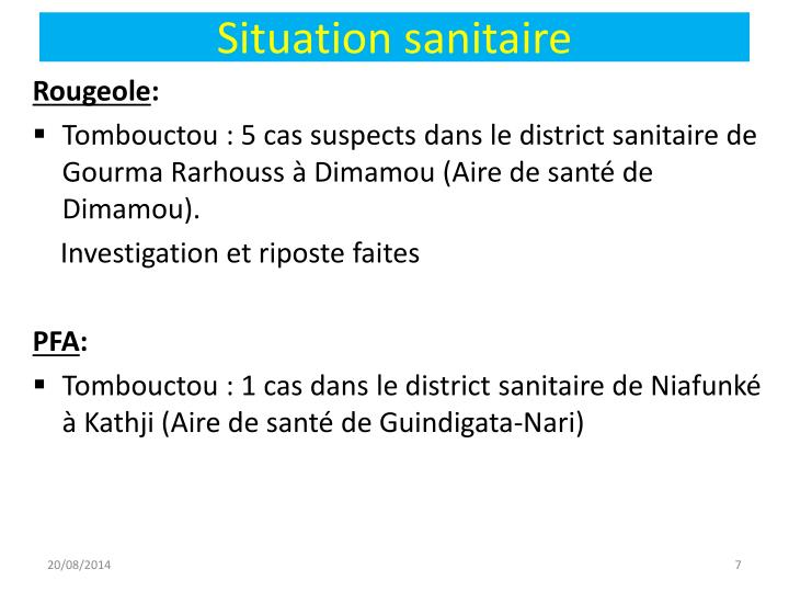Situation sanitaire