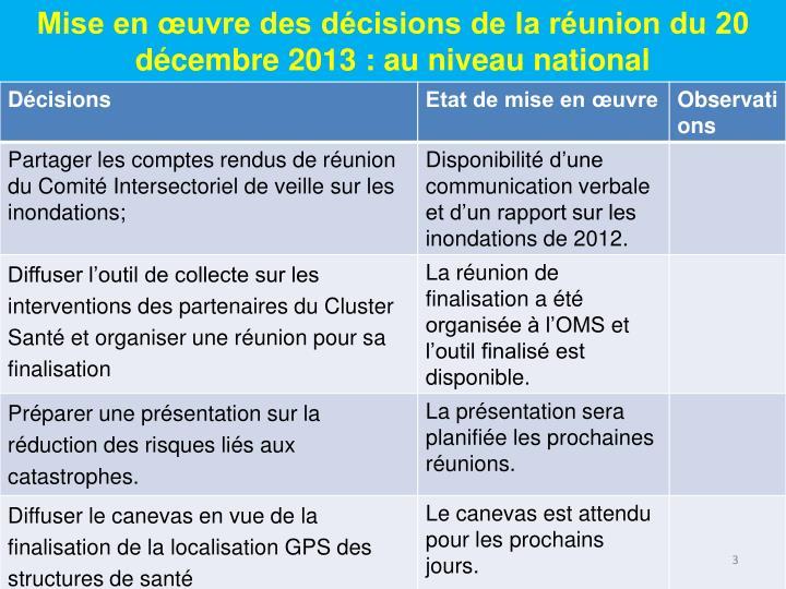 Mise en œuvre des décisions de la réunion du 20 décembre 2013 : au niveau national