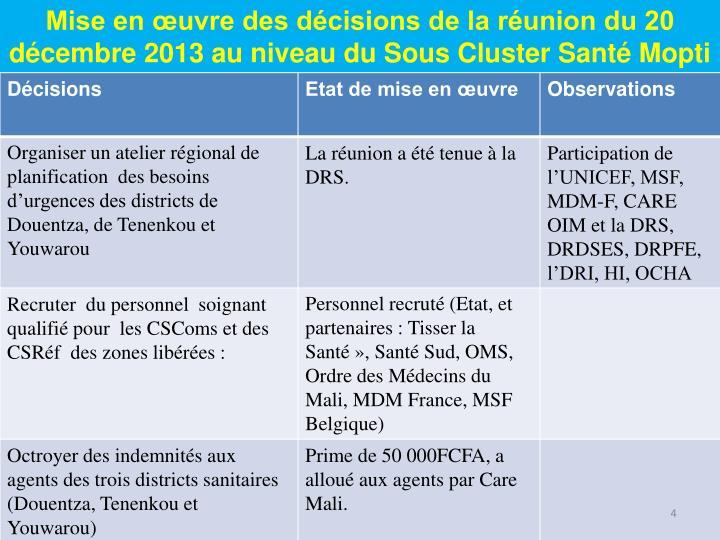 Mise en œuvre des décisions de la réunion du 20 décembre 2013 au niveau du Sous Cluster Santé Mopti
