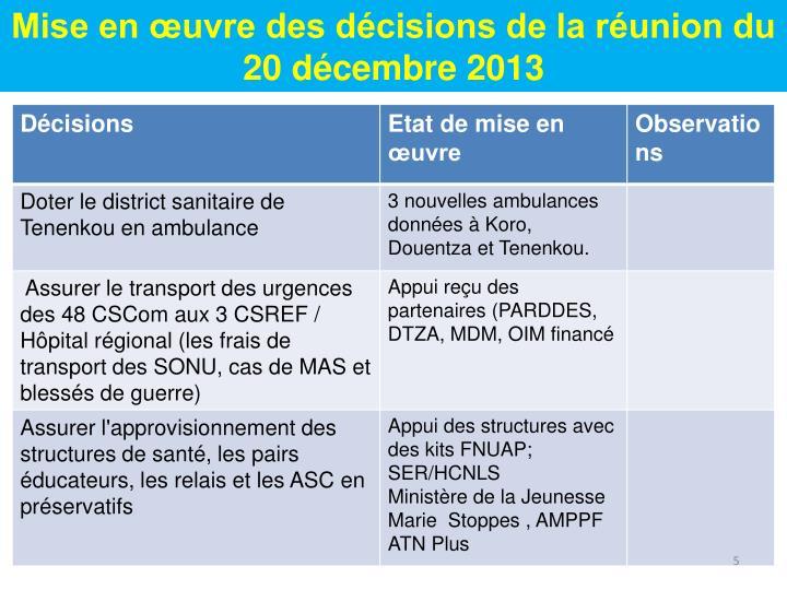 Mise en œuvre des décisions de la réunion du 20 décembre 2013