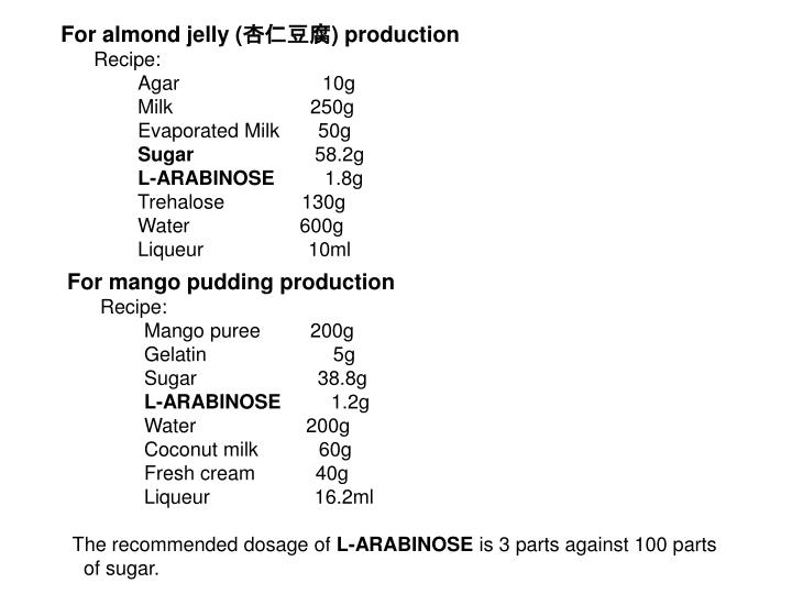 For almond jelly (