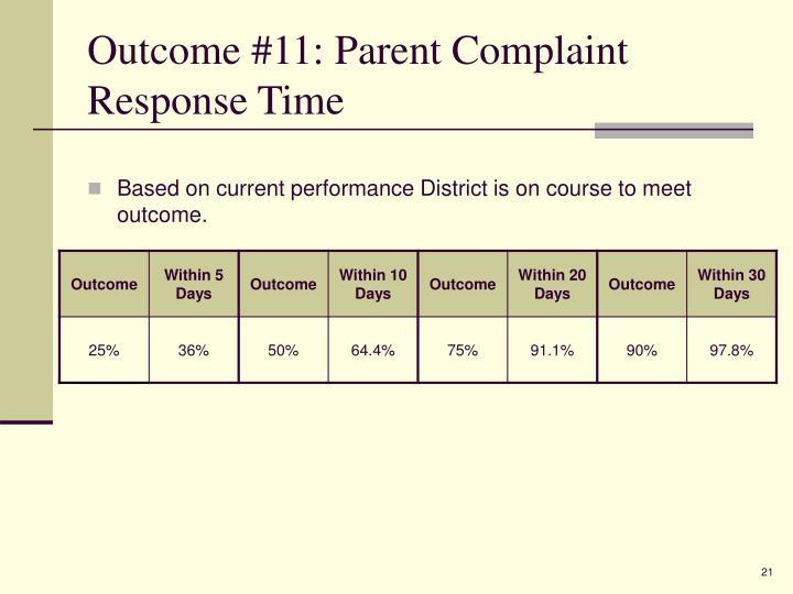 Outcome #11: Parent Complaint Response Time