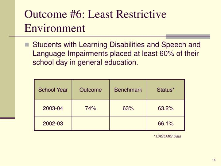 Outcome #6: Least Restrictive Environment