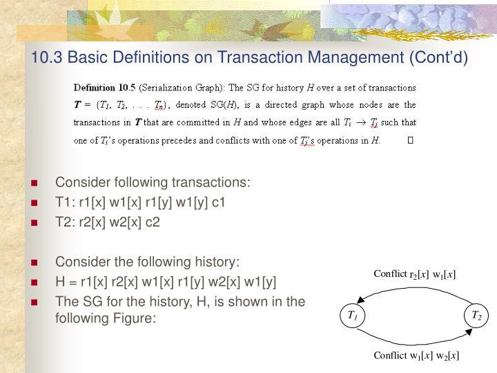 10.3 Basic Definitions on Transaction Management