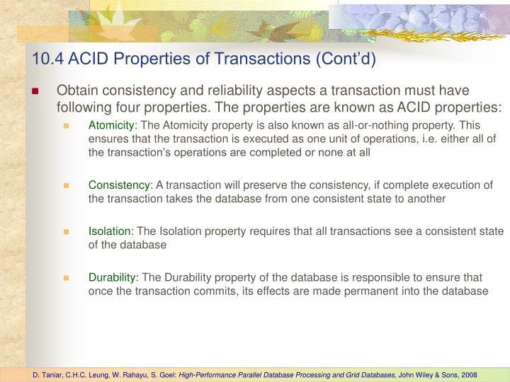 10.4 ACID Properties of Transactions (Cont'd)