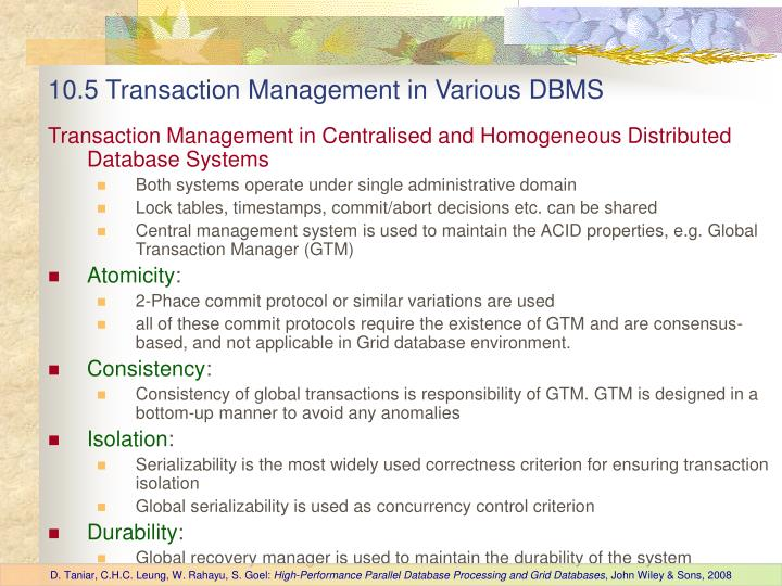 10.5 Transaction Management in Various DBMS
