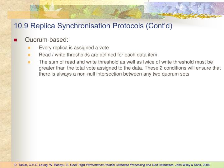 10.9 Replica Synchronisation Protocols (Cont'd)