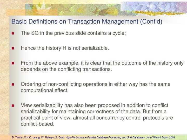 Basic Definitions on Transaction Management
