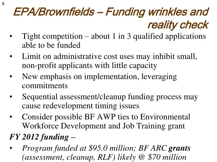 EPA/Brownfields – Funding wrinkles and reality check