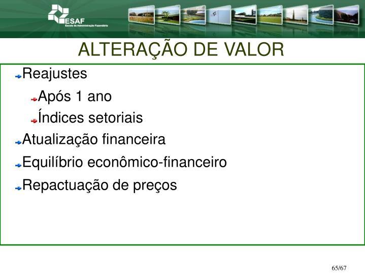 ALTERAÇÃO DE VALOR