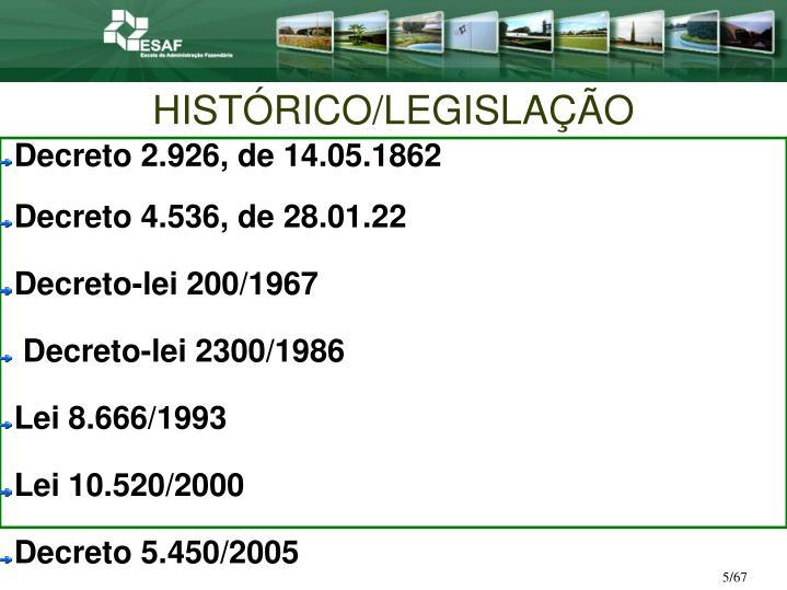 HISTÓRICO/LEGISLAÇÃO