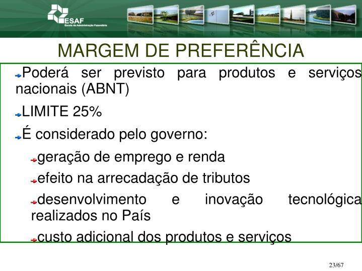 MARGEM DE PREFERÊNCIA