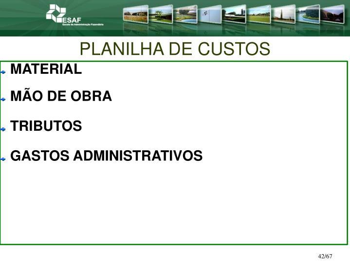 PLANILHA DE CUSTOS