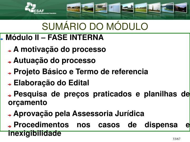 SUMÁRIO DO MÓDULO