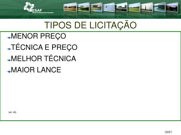 TIPOS DE LICITAÇÃO