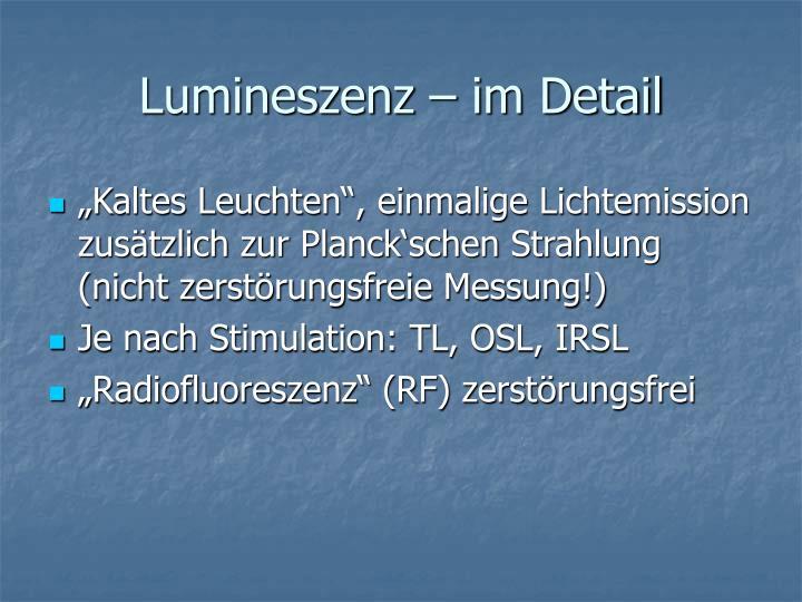 Lumineszenz – im Detail