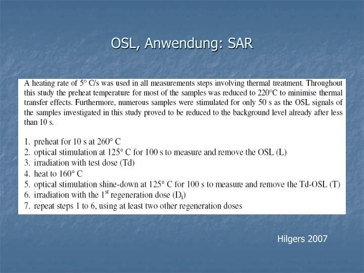 OSL, Anwendung: SAR