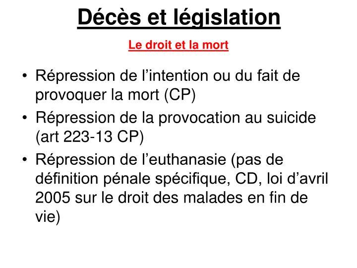 Décès et législation
