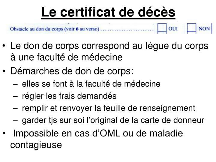 Le certificat de décès