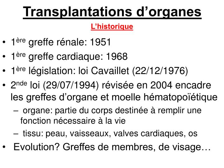Transplantations d'organes