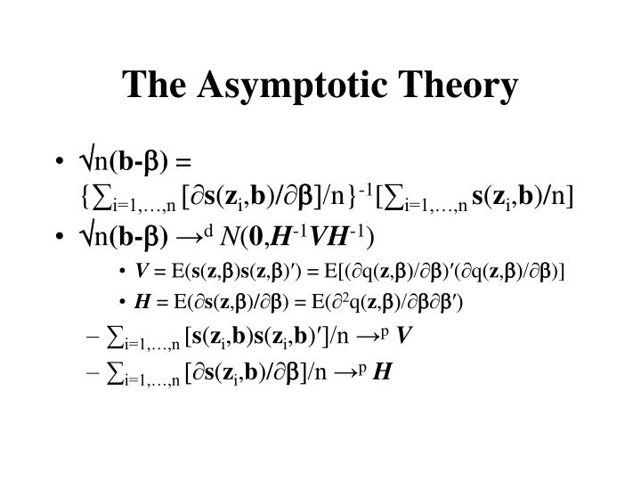 The Asymptotic Theory