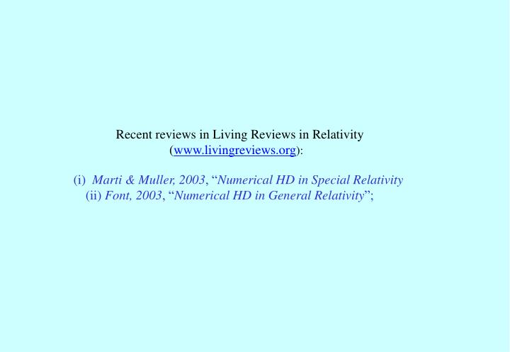 Recent reviews in Living Reviews in Relativity