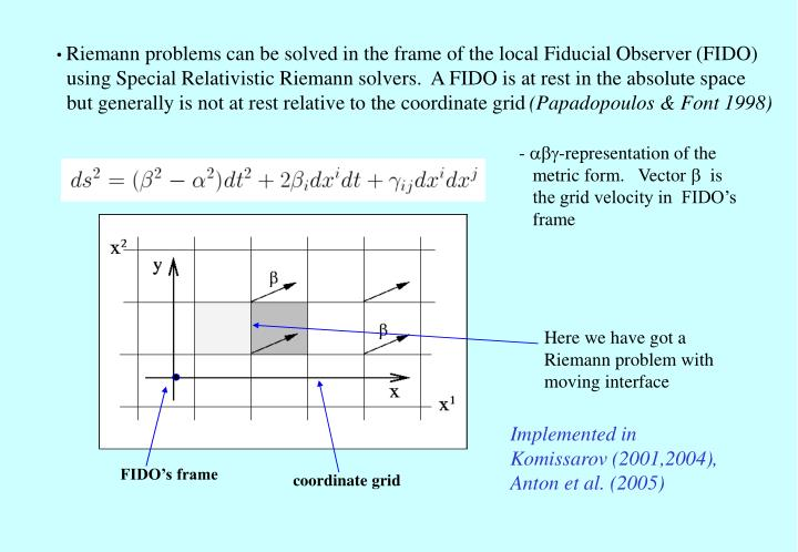Riemann problems can be solved in the frame of the local Fiducial Observer (FIDO)