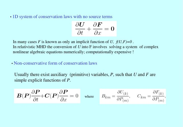 1D system of conservation laws with no source terms