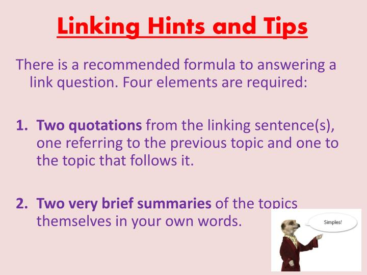 Linking Hints and Tips